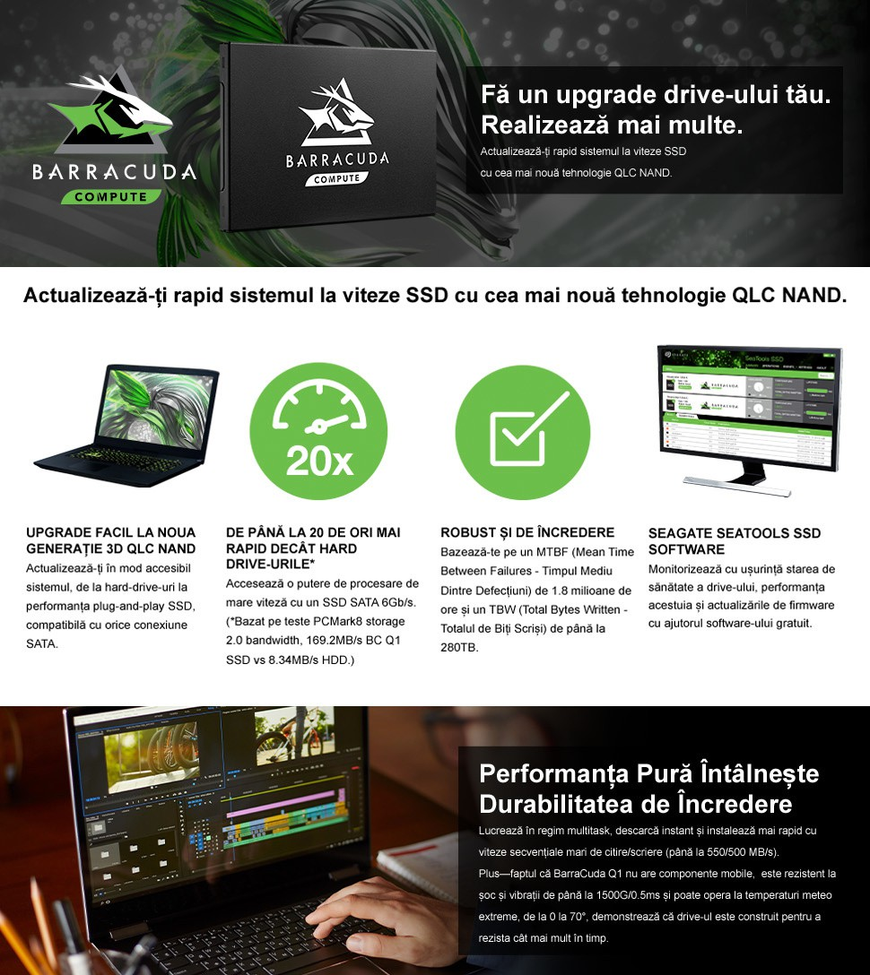 SSD Seagate BarraCuda Q1 960GB SATA-III 2.5 inch